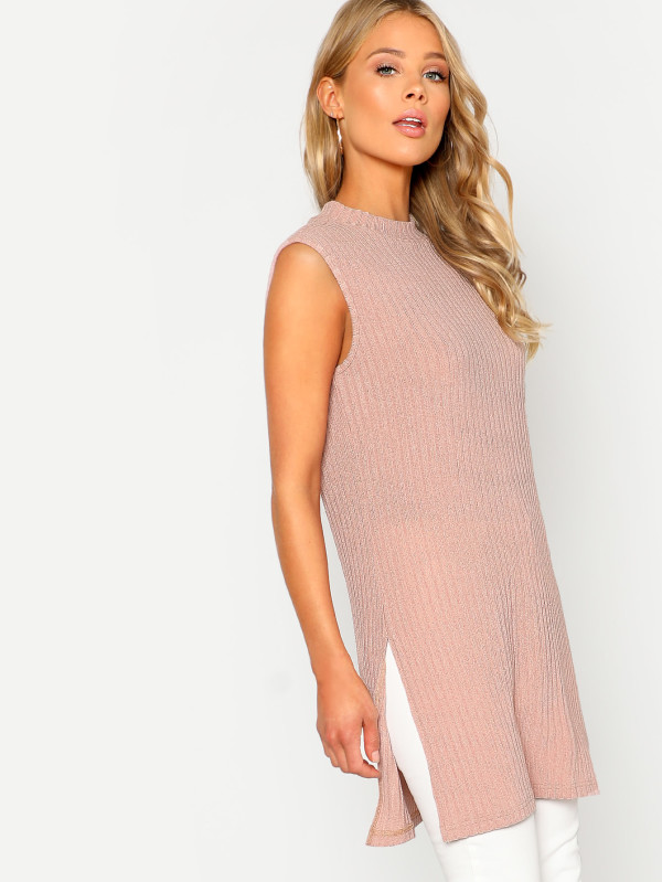SHEIN Slit Side Ribbed Knit Tee