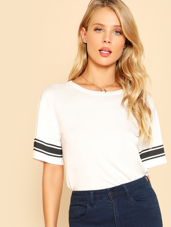 SHEIN Striped Print Sleeve Tee