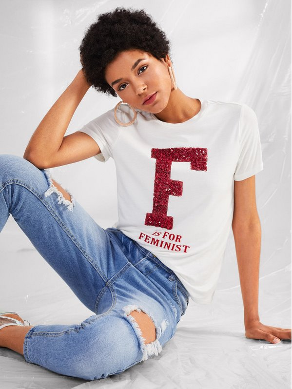 SHEIN Contrast Sequin Letter Tee