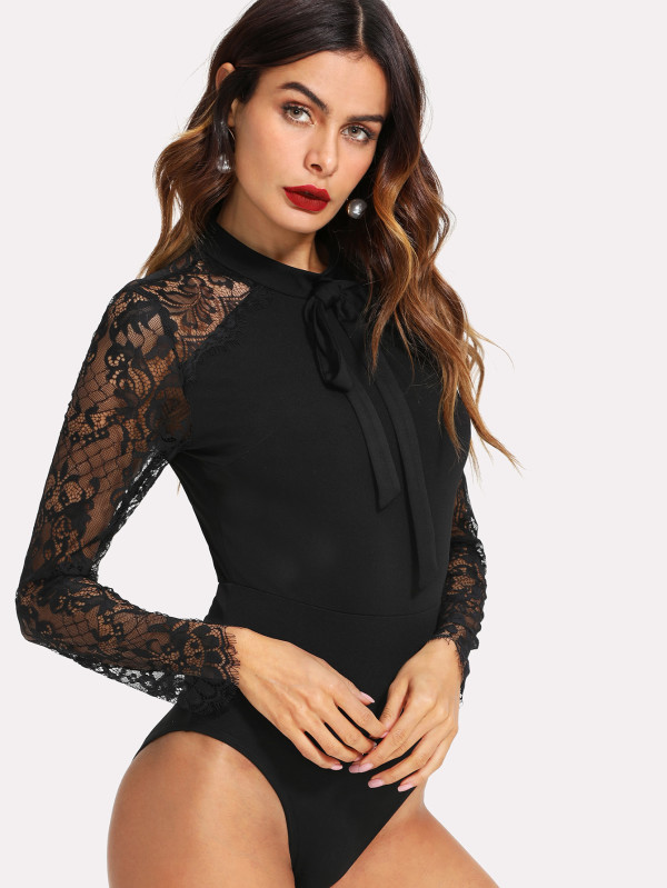 SHEIN Tie Neck Lace Panel Sleeve Bodysuit