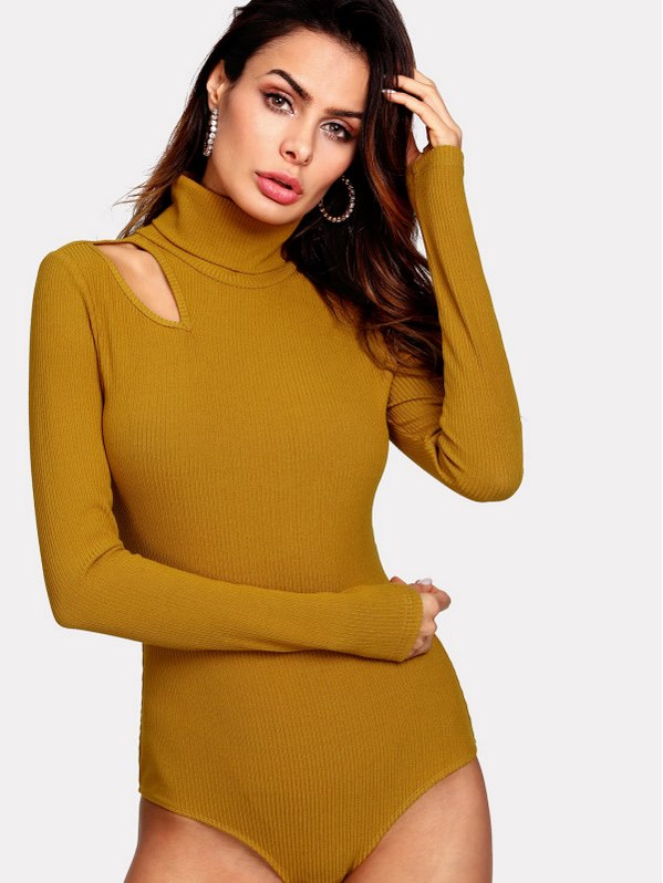 SHEIN High Neck Cut Out Ribbed Bodysuit