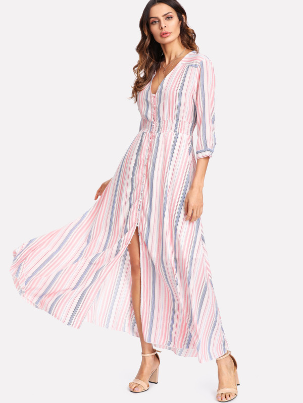 SHEIN Button Up Front Striped Dress