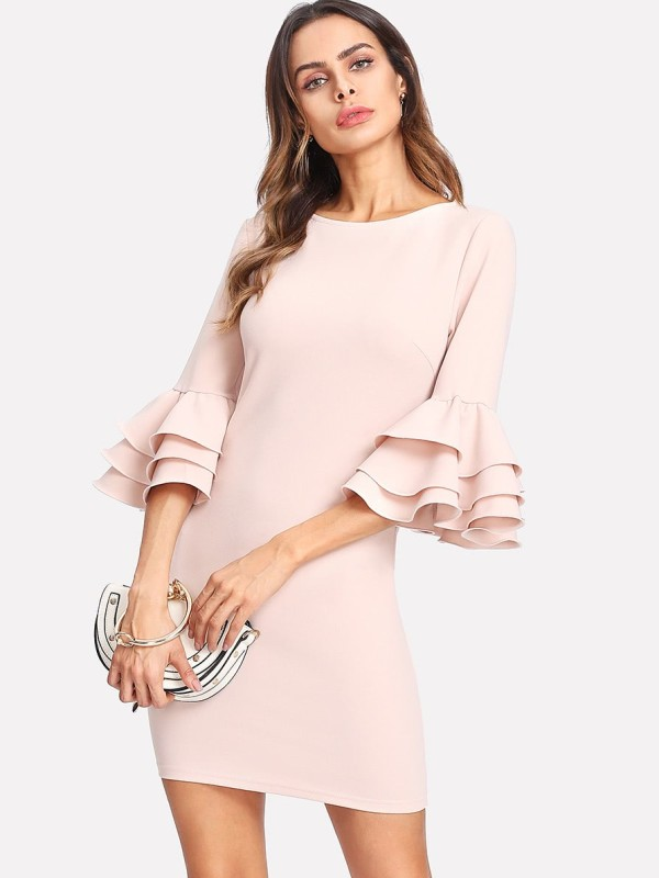 SHEIN Exaggerate Layered Ruffle Sleeve Dress