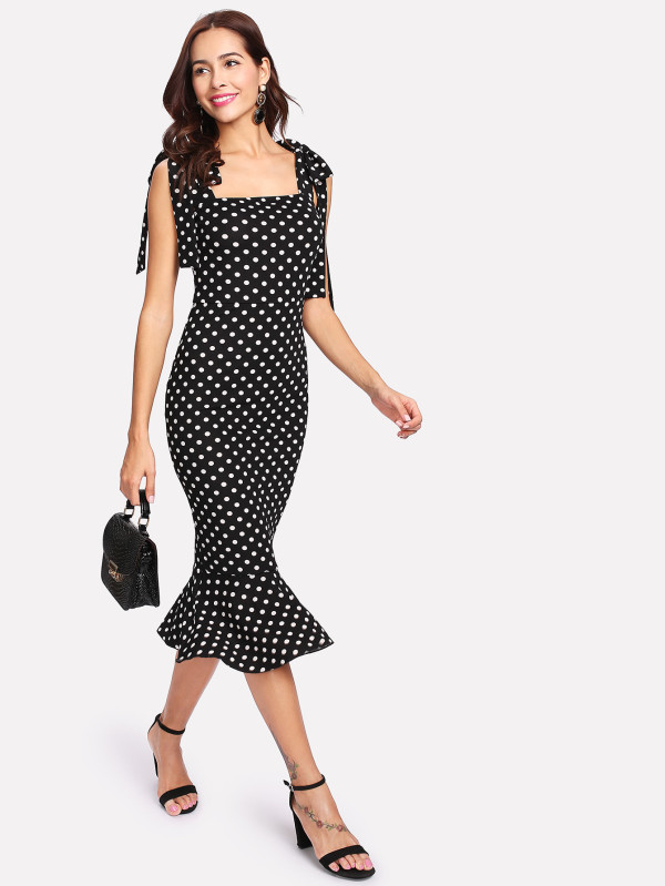 SHEIN Self Tie Shoulder Polka Dot Ruffle Hem Dress