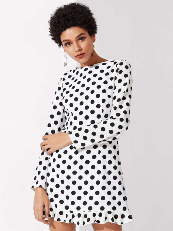 SHEIN Princess Seam Detail Ruffle Hem Polka Dot Dress