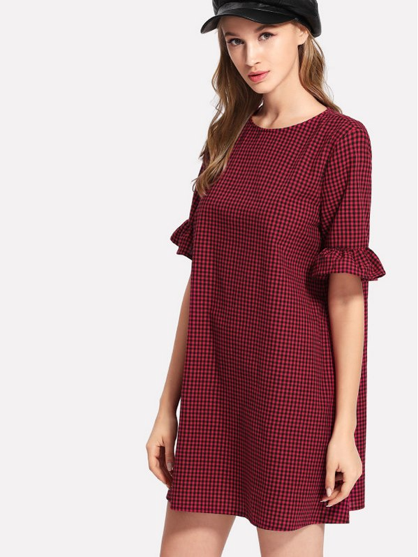 SHEIN Ruffle Sleeve Gingham Dress