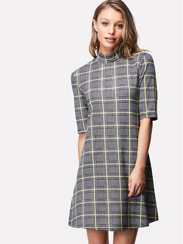 SHEIN Zip Back Stand Collar Plaid Dress