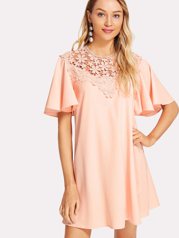 SHEIN Floral Lace Yoke Flutter Sleeve Dress