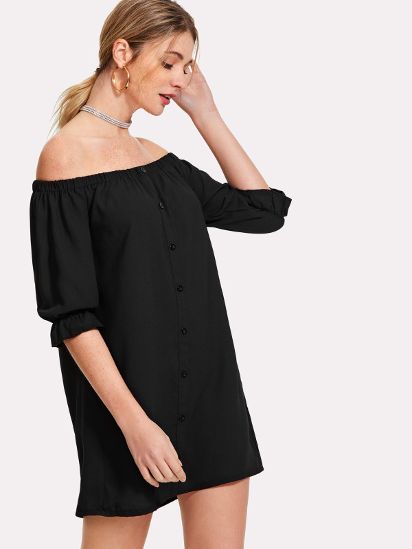 SHEIN Button Up Bardot Dress