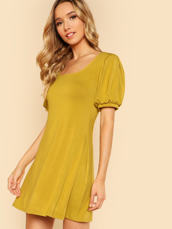 SHEIN Scoop Neck Puff Sleeve Dress