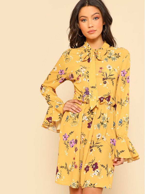 SHEIN Tie Neck Elastic Waist Floral Dress