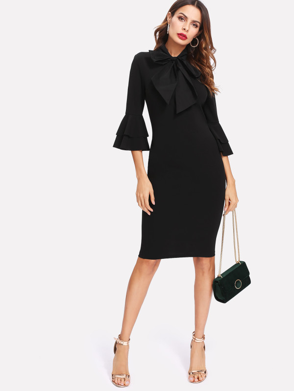 SHEIN Flounce Sleeve Slit Back Tied Neck Fitted Dress