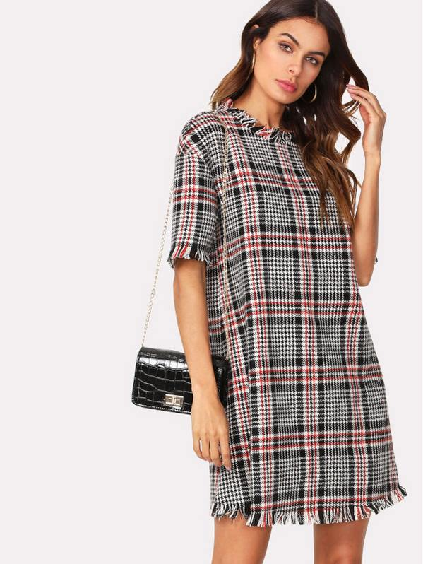 SHEIN Frayed Trim Houndstooth Tweed Dress