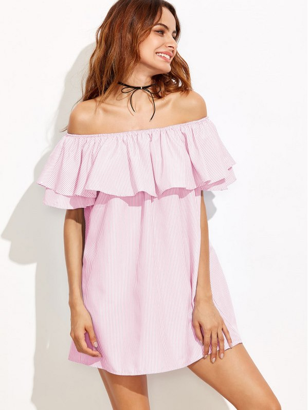 SHEIN Flounce Off Shoulder Striped Dress