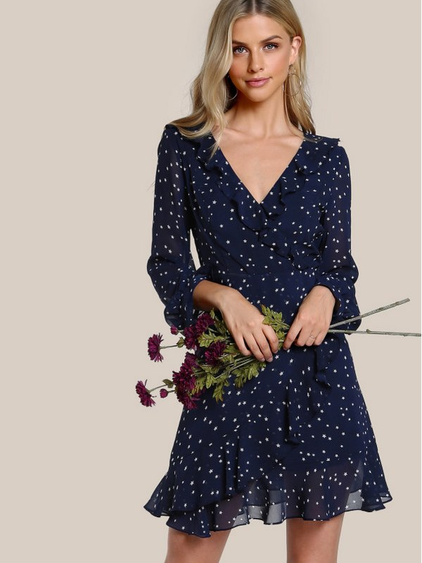 SHEIN Flutter Sleeve Frilled Surplice Wrap Dress