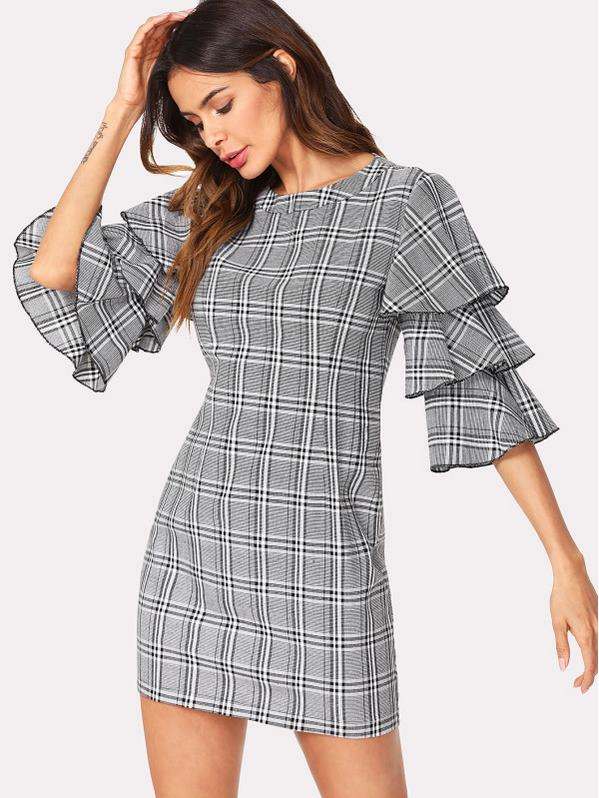 SHEIN Layered Sleeve Plaid Dress