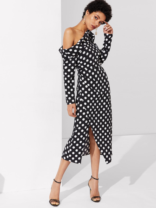 SHEIN Foldover Knot Asymmetric Shoulder Polka Dot Dress