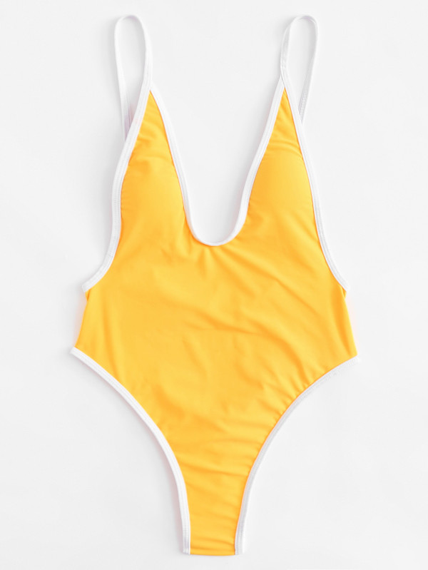 Contrast Piping Low Back Swimsuit