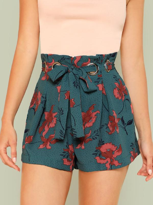 SHEIN Boxed Pleated O-Ring Belted Shorts