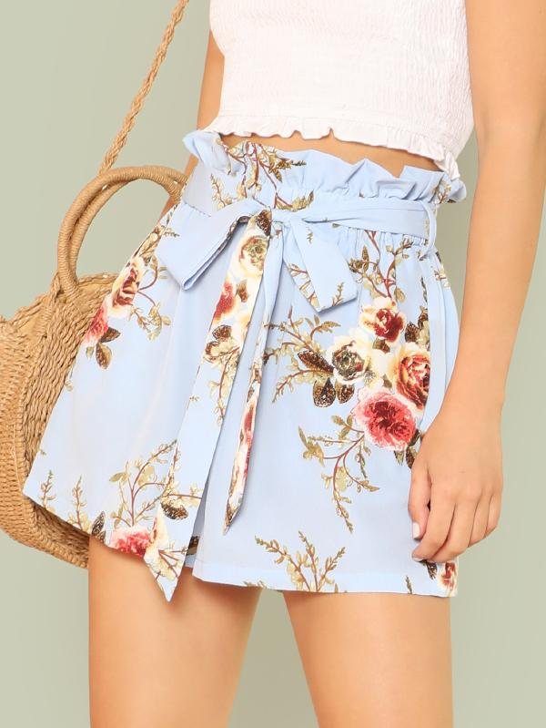 SHEIN Frilled Waist Floral Print Belted Shorts