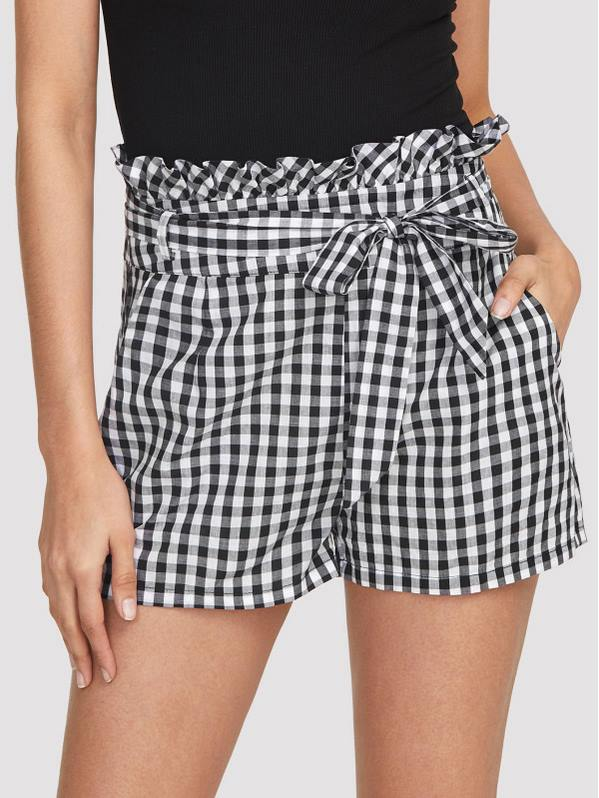 SHEIN Self Belted Frilled Waist Gingham Shorts