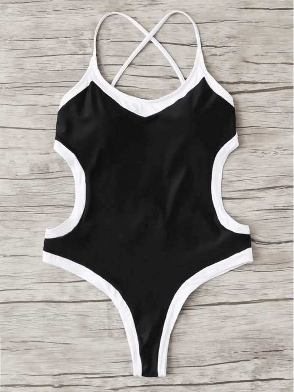 Contrast Trim Backless Swimsuit