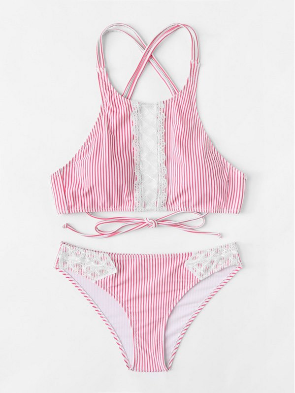Contrast Lace Striped Bikini Set