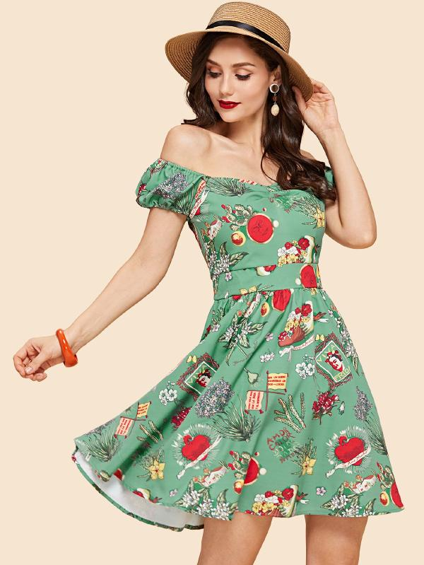 SHEIN Buttoned Ruched Sweetheart Fit And Flare Dress
