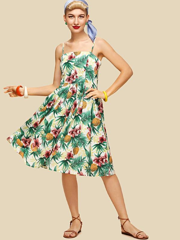 SHEIN Tropical Print Pleated Panel Cami Dress