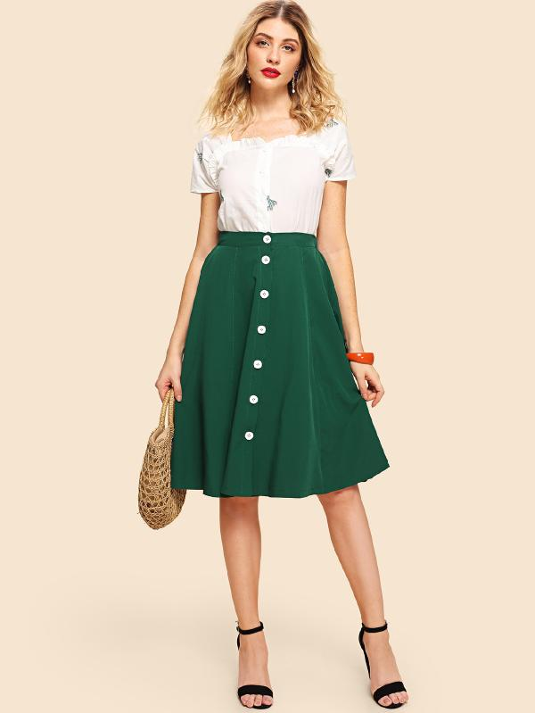 Frill Embroidery Blouse With Button Decoration Dropped Hem Skirt