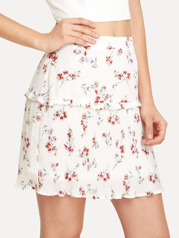 SHEIN Frill Detail Tiered Botanical Skirt