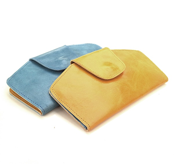 ארנק עור מעוצב צהוב